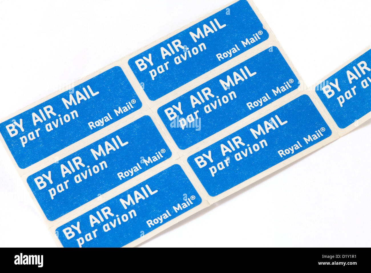 Air mail par avion letter stamp stamps sticker stickers, UK - Stock Image