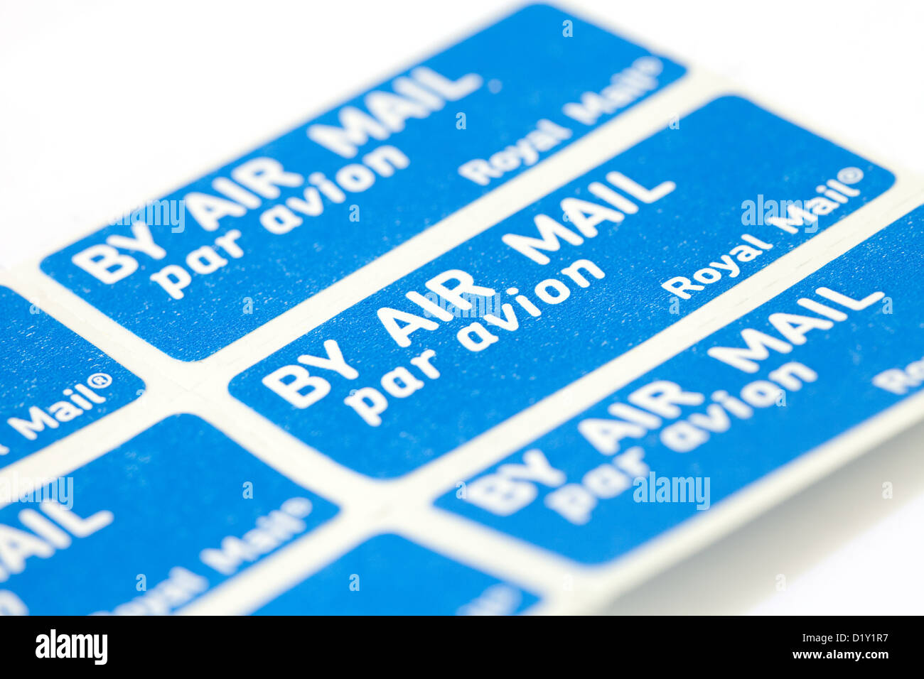 By air mail, par avion stamp, sticker for overseas letters, UK - Stock Image