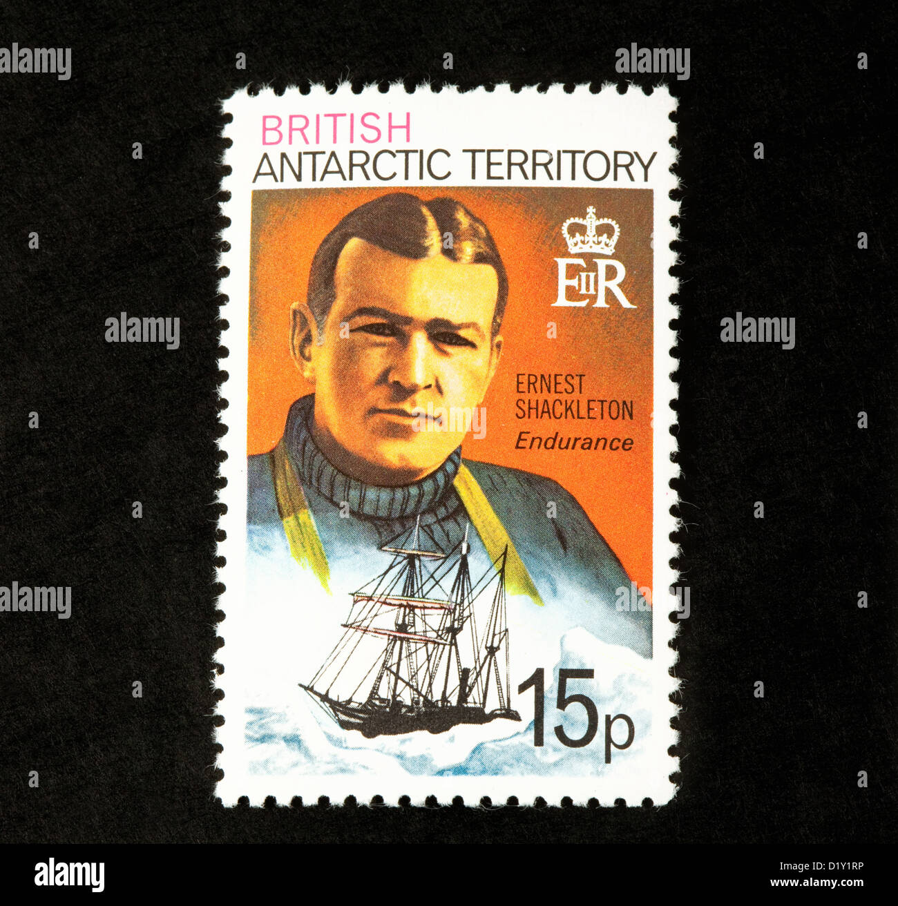 A stamp from the British Antarctic Territory showing explorer Ernest Shackleton and The Endurance - Stock Image