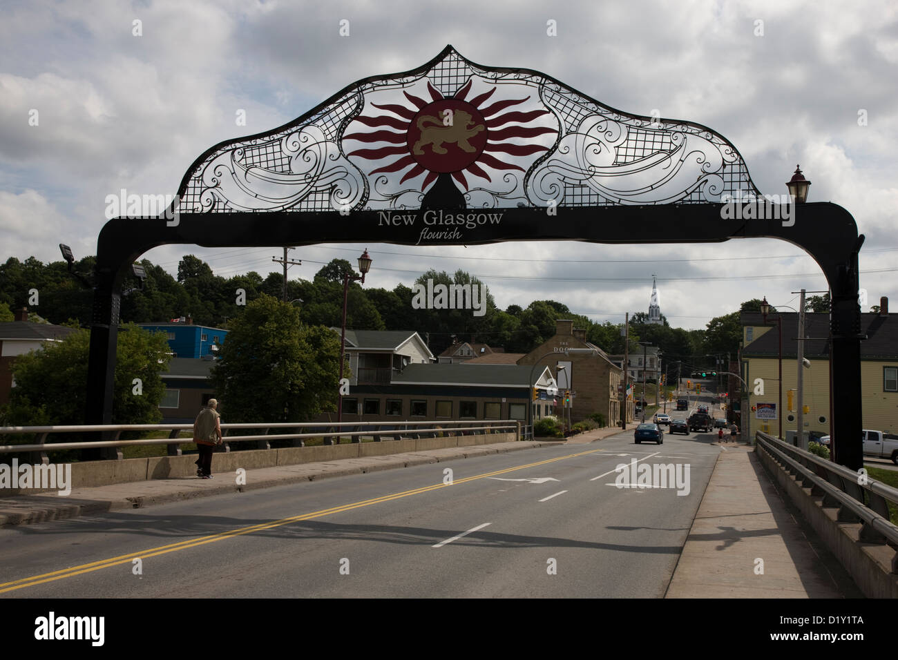 Main road over the river into New Glasgow, Nova Scotia, with gateway and motto, 'flourish' - Stock Image