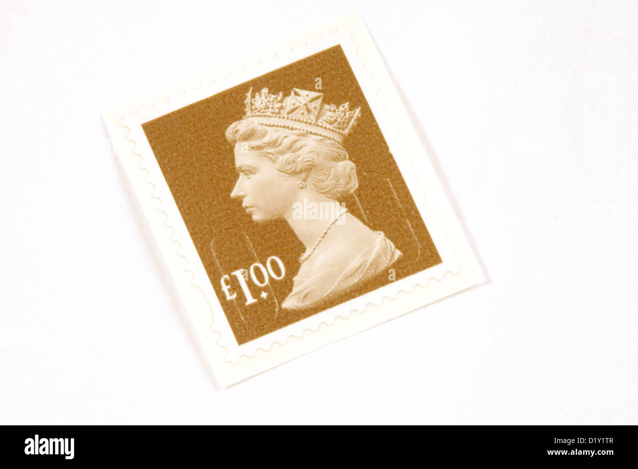 A UK £1 One Pound postage stamp for mail and post - Stock Image