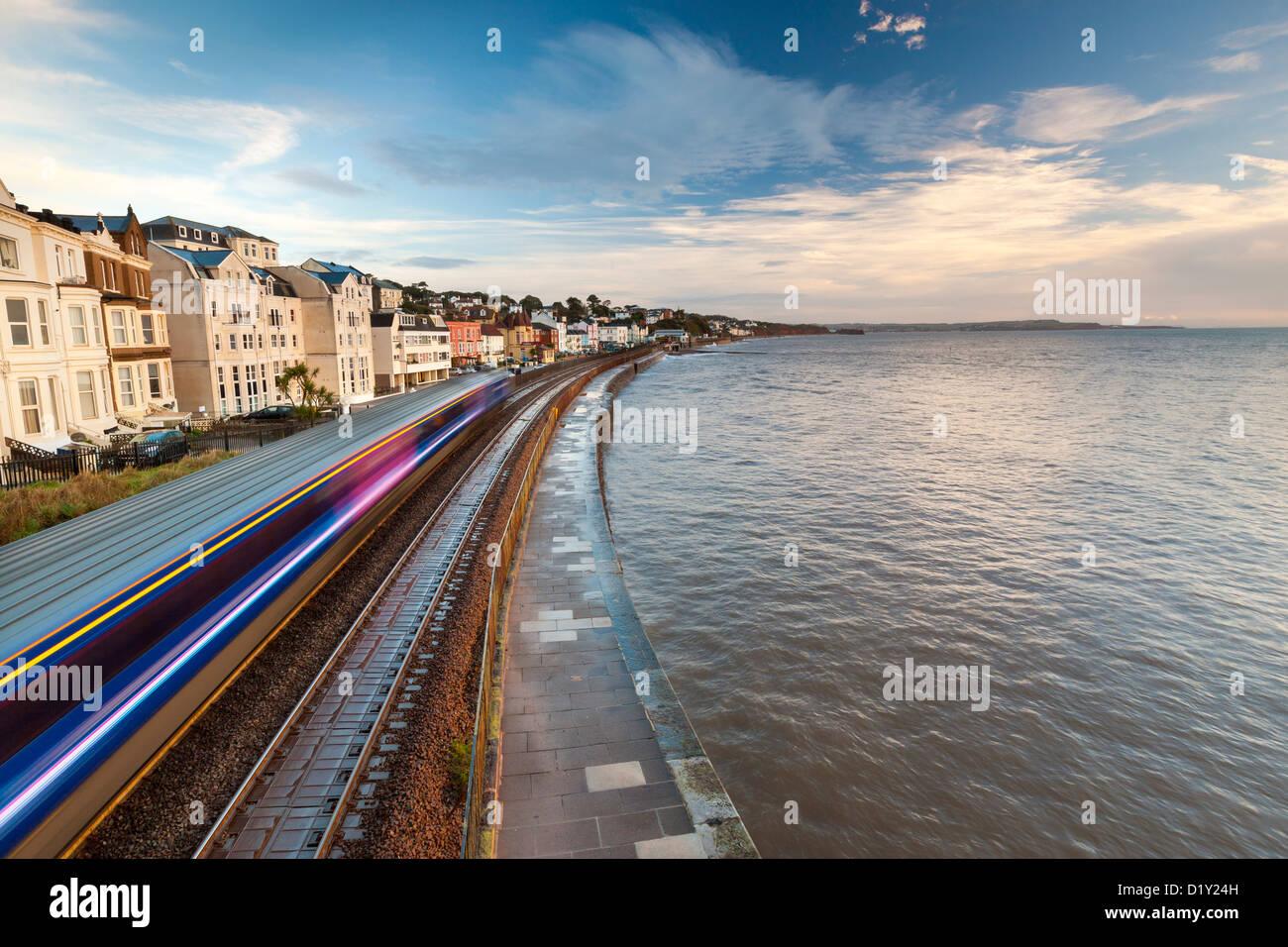 Dawlish seafront and rail track, Devon, England, United Kingdom, Europe. - Stock Image