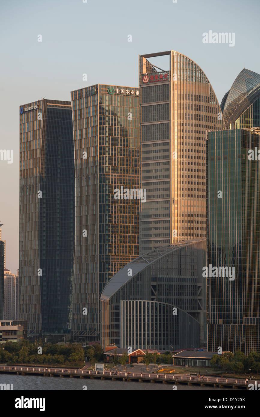 Pu Jiang Shuanghui Buildings, China Merchants Bank Mansion on the banks of the Huangpu River, Lujiazui, Pudong, - Stock Image