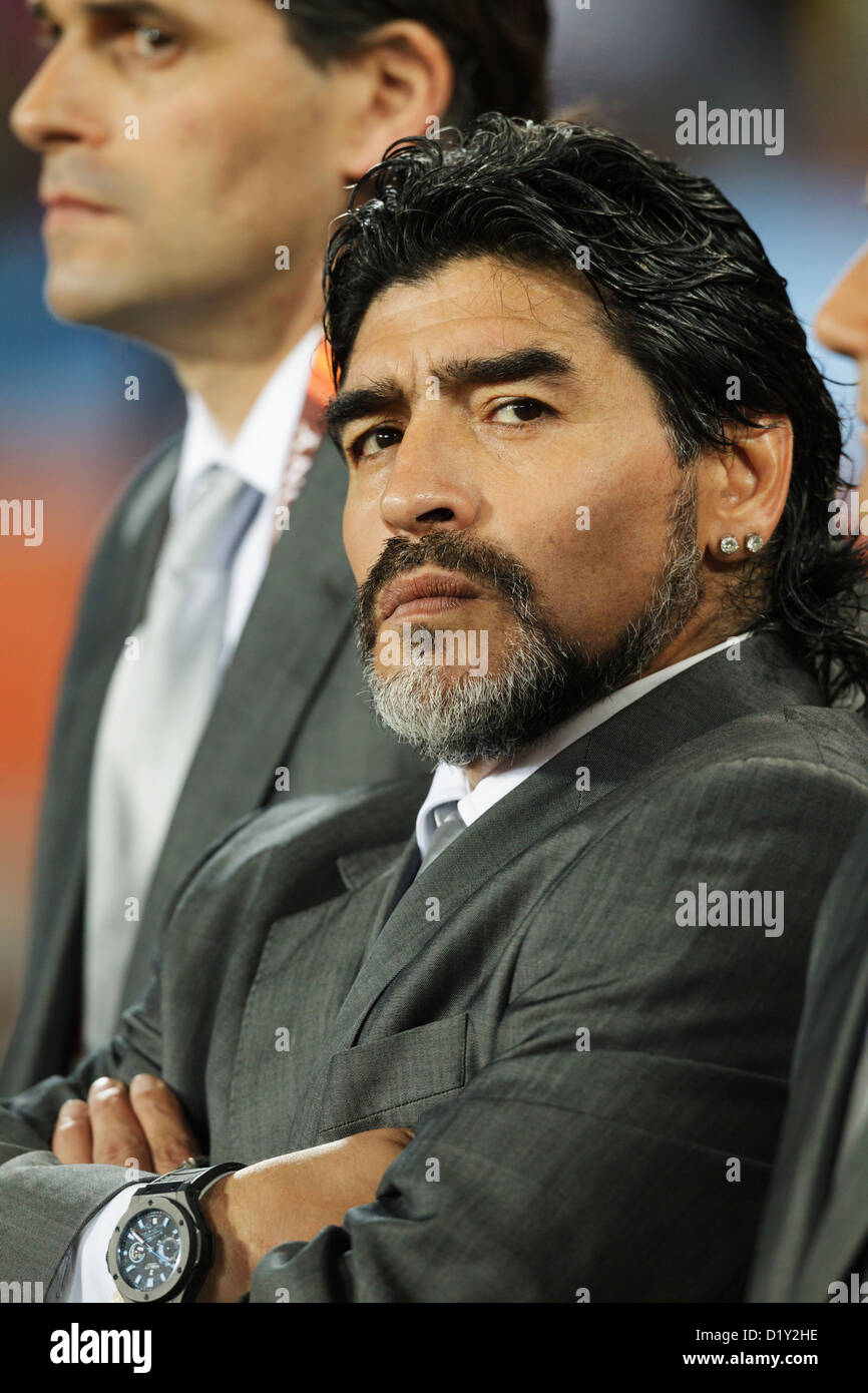 Argentina head coach Diego Maradona stands for team introductions before the FIFA World Cup round of 16 match against - Stock Image