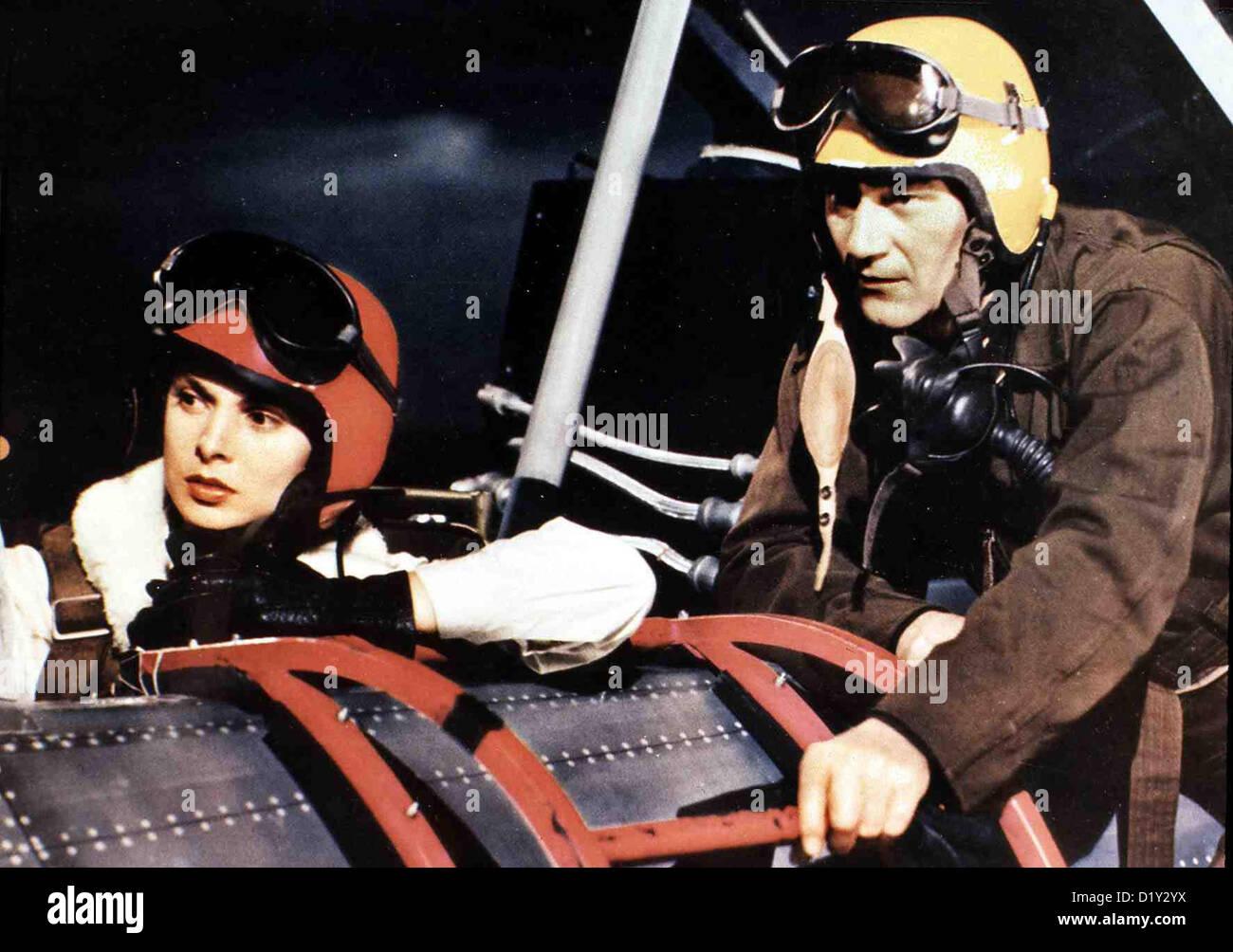 Duesenjaeger  Jet Pilot  Janet Leigh, John Wayne Colonel Shannon (John Wayne) ist erstaunt, in dem russischen Duesenjaeger, - Stock Image