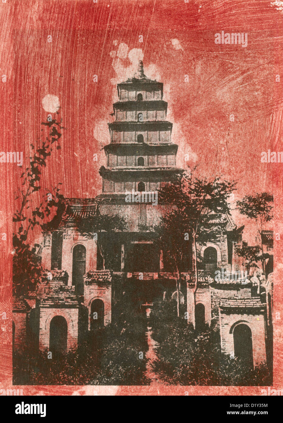 Traditional Japanese Pagoda stained mixed media print. - Stock Image