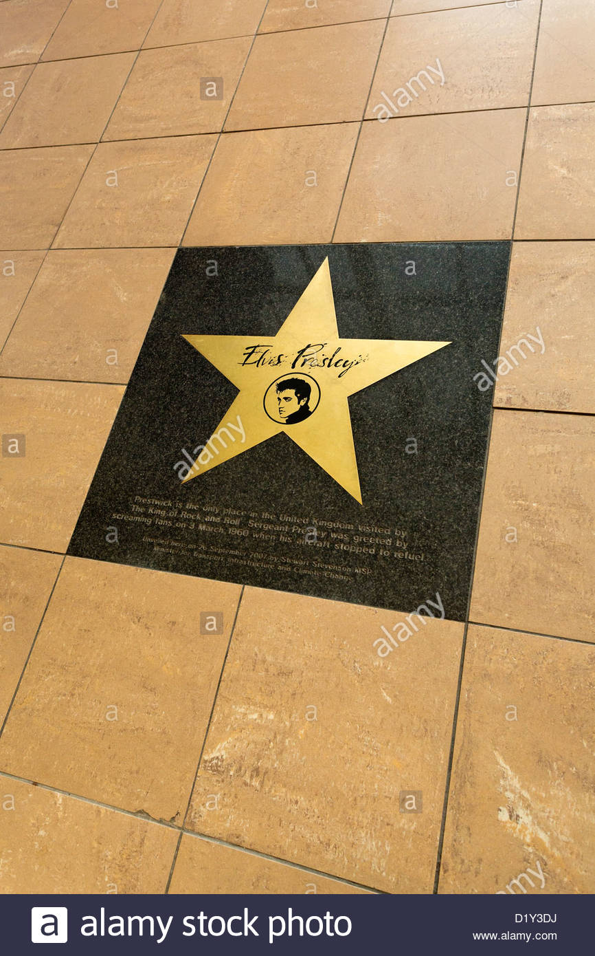 Plaque commemorating the only visit by Elvis Presley to Scotland set into the floor at Prestwick Airport - Stock Image