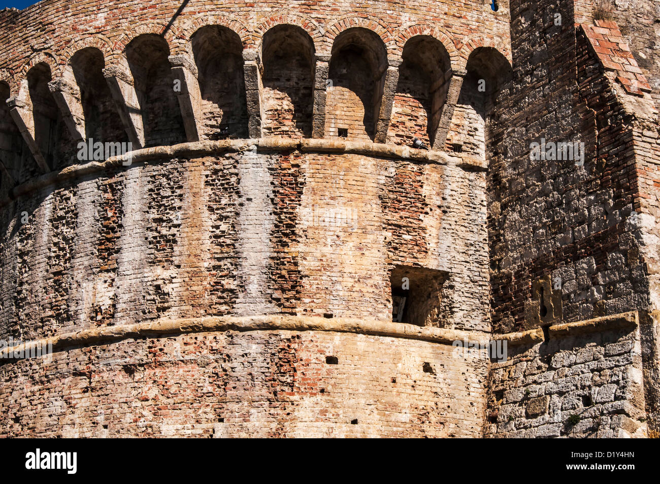 detail of the fortress of colle di val d'elsa in  tuscany. italy Stock Photo