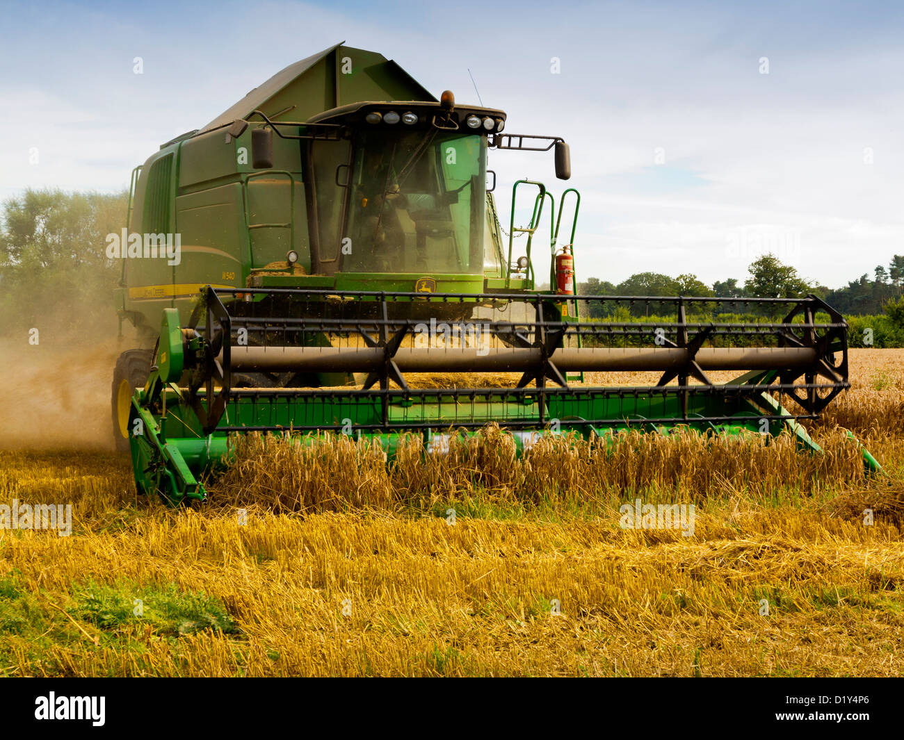 John Deere Combine Harvester Working In A Field Shropshire England UK