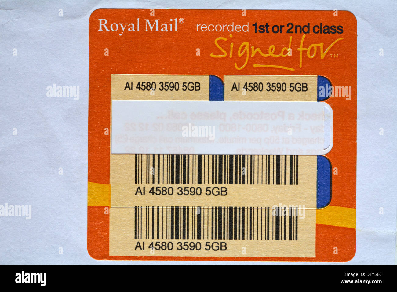 Royal Mail recorded label on envelope - Stock Image