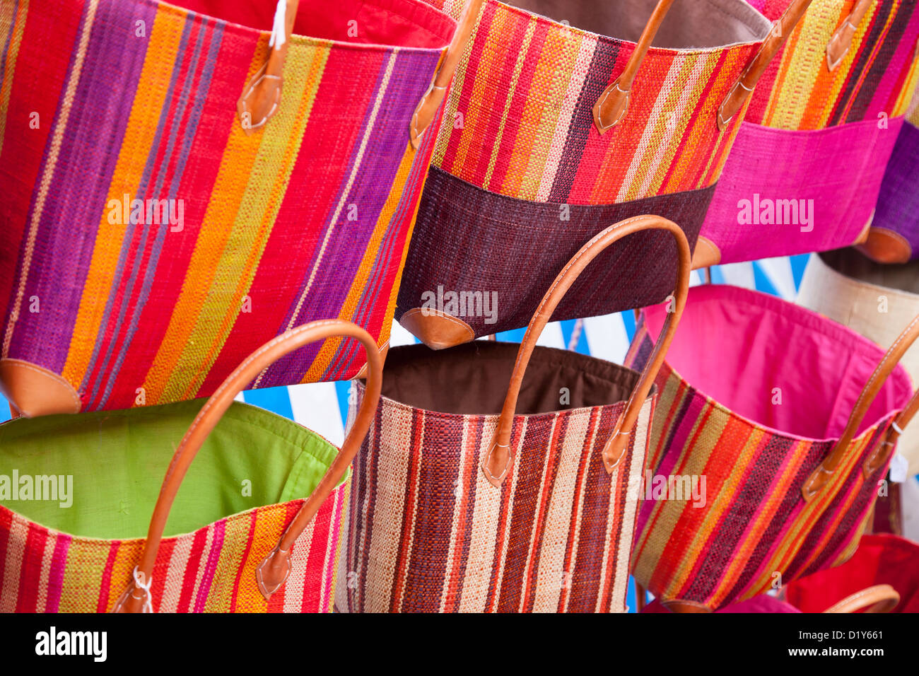 Hand woven bags for sale at the market in Saint Remy de-Provence, France Stock Photo
