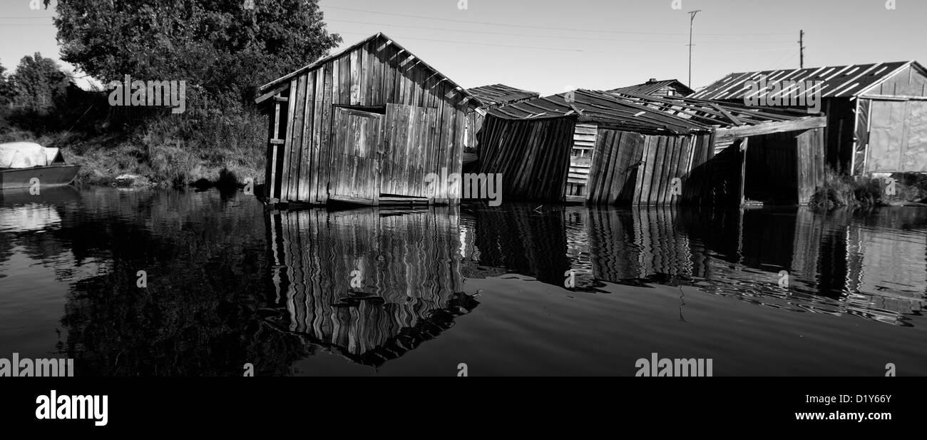 Fishers barracks on a lake in Lovozero (Russia) - Stock Image