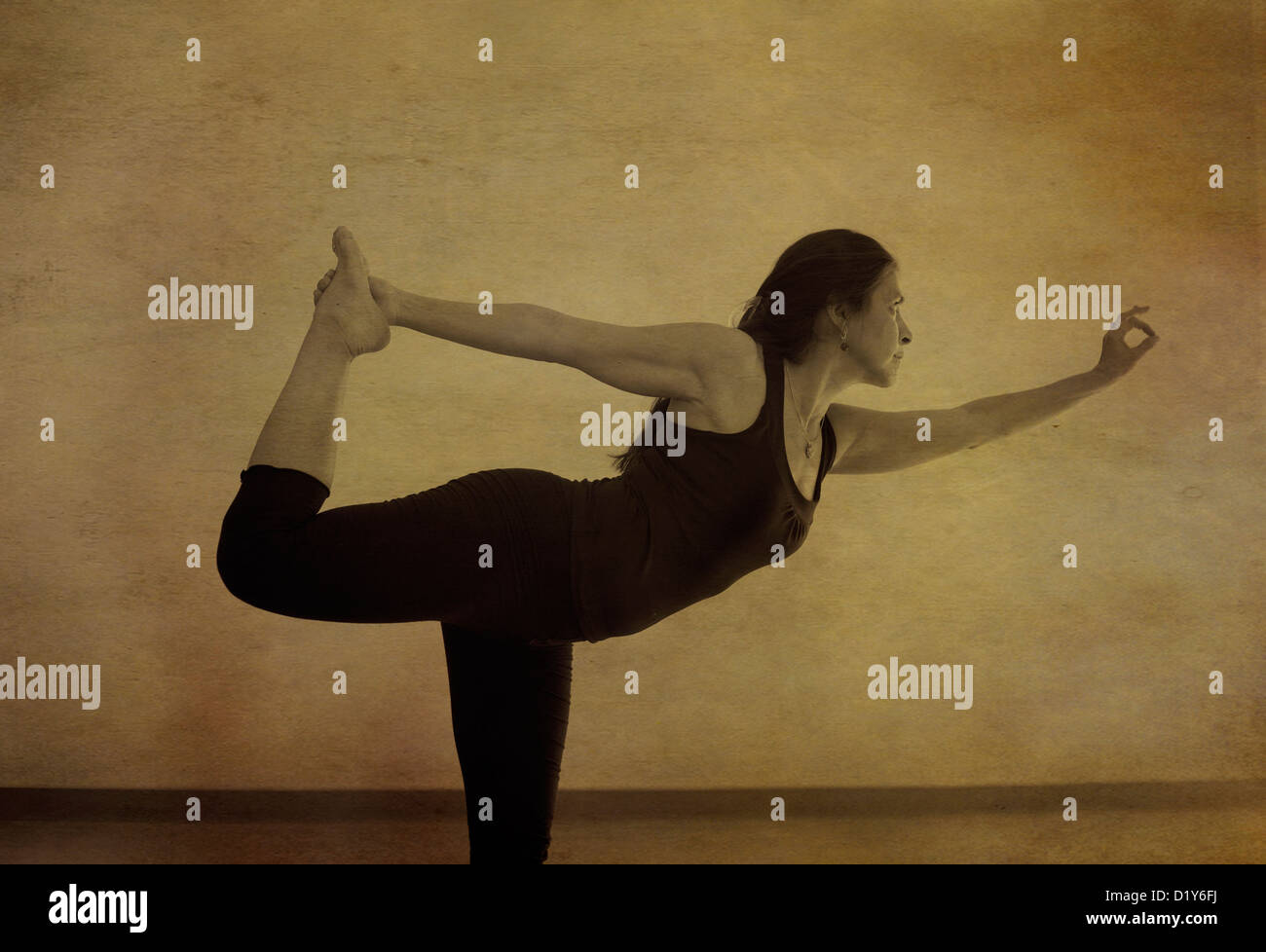 Woman in yoga pose indoors. Photo based illustration. - Stock Image