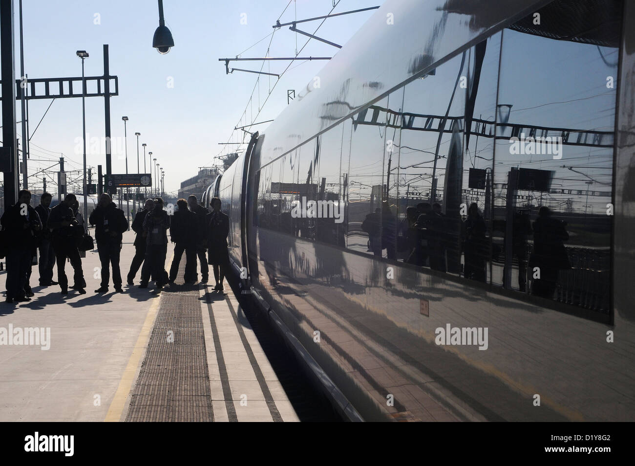 train station Spain opens high-speed rail link between Barcelona and Figueras  Barcelona-Figueres high-speed rail - Stock Image