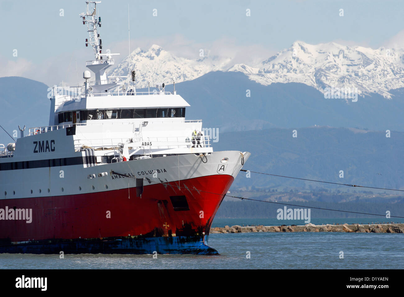 Amaltal Columbia under tow entering Port Nelson following a damaging fire - Stock Image