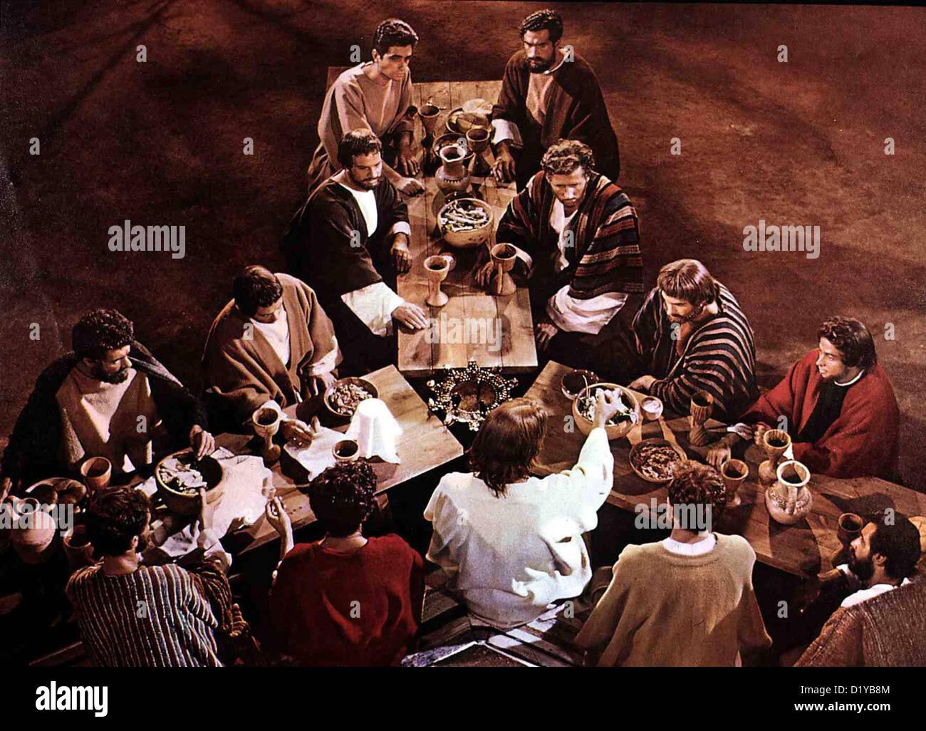 Koenig Der Koenige  King Kings  Jeffrey Hunter Jesus (Jeffrey Hunter,m.v.) mit seinen Juengern beim Abendmahl. *** - Stock Image