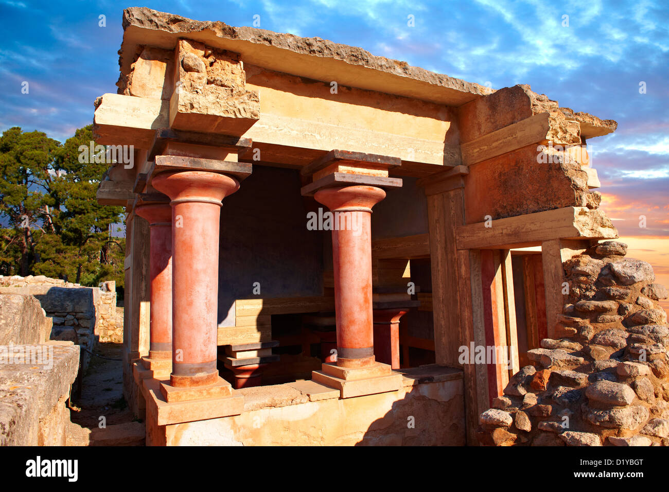 Arthur Evans reconstruction of Knossos Minoan Palace archaeological site, Crete - Stock Image