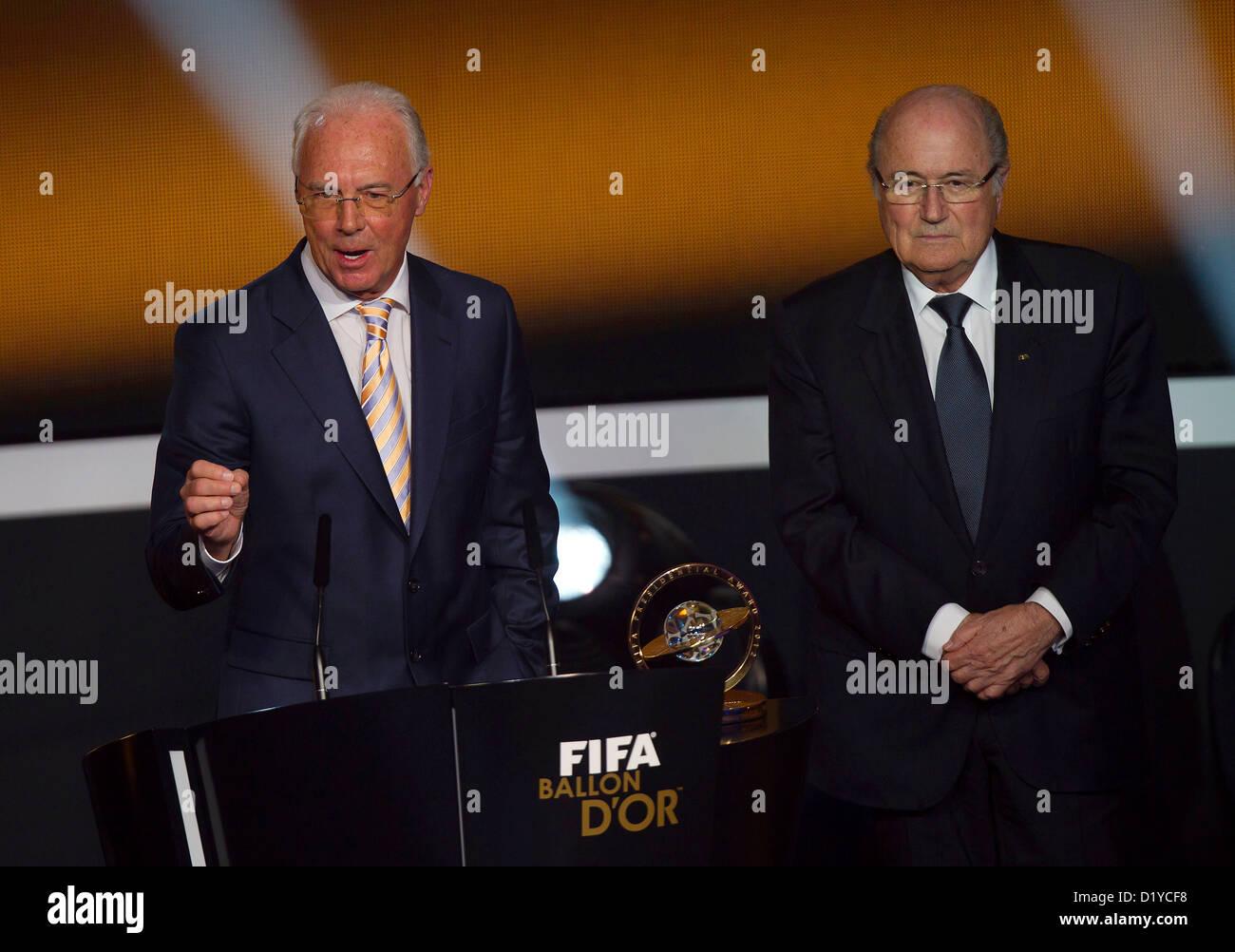 Franz Beckenbauer and Joseph Blatter, during FIFA Ballon d'Or Gala 2012 at the Kongresshaus on January 7, 2013 - Stock Image