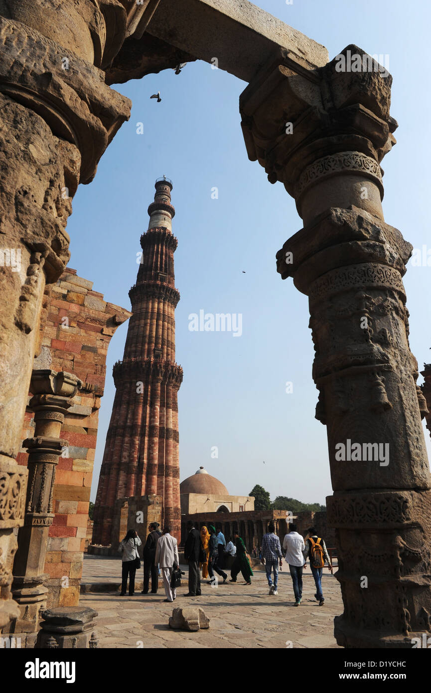 View of the Qutb Minar on the grounds of the Qutb complex in Delhi, India, 23 November 2012. The Qutb Minar is said - Stock Image