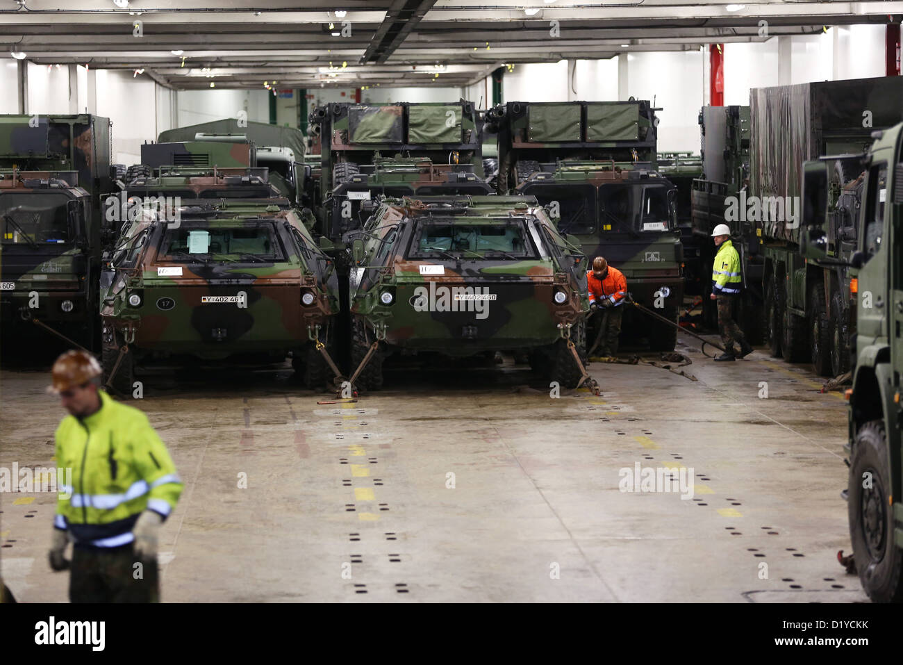 Two ABC-search-tanks \'Fuchs\' (lit. fox) and other vehicles for the ...