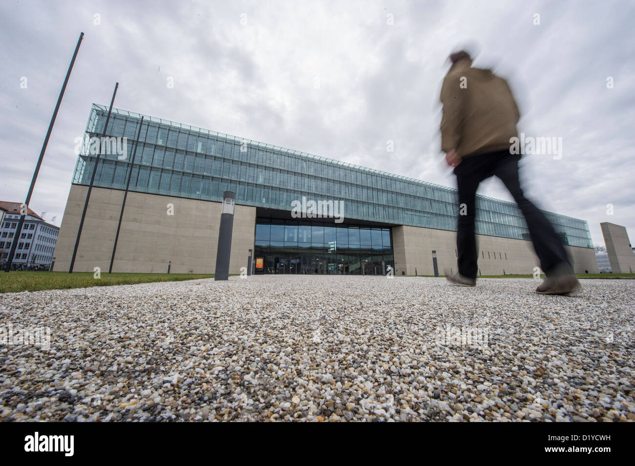 A man walks toward the State Museum of Egyptian Art in Munich, Germany, 08 January 2013. The musuem opens - Stock Image