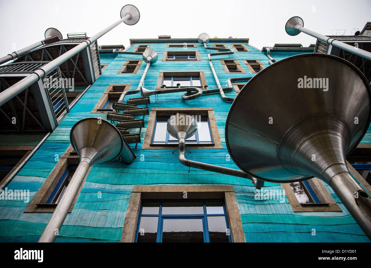 A view at a richly decorated residential building of an arts initiative in the Neustadt district of Dresden, Germany, - Stock Image