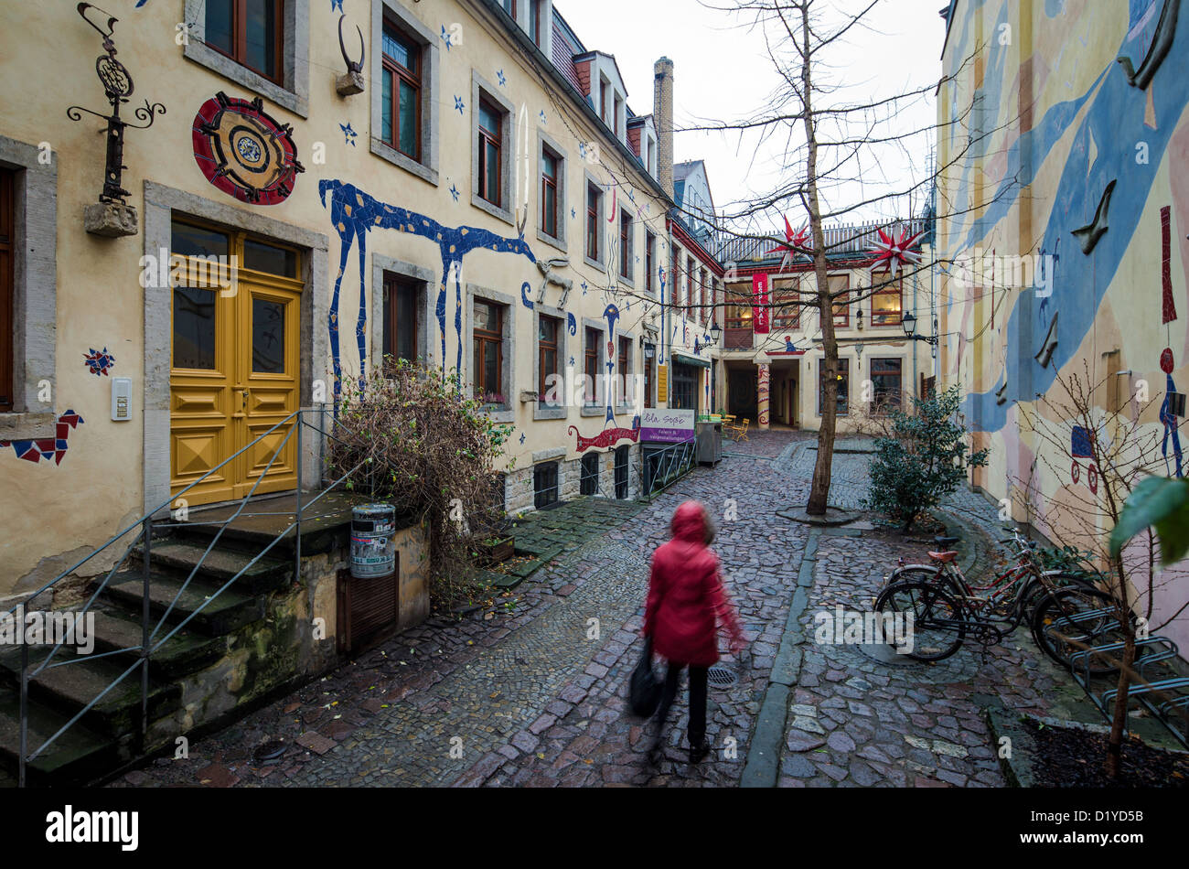 A view at a richly decorated back alley of an arts initiative in the Neustadt district of Dresden, Germany, 7 January - Stock Image