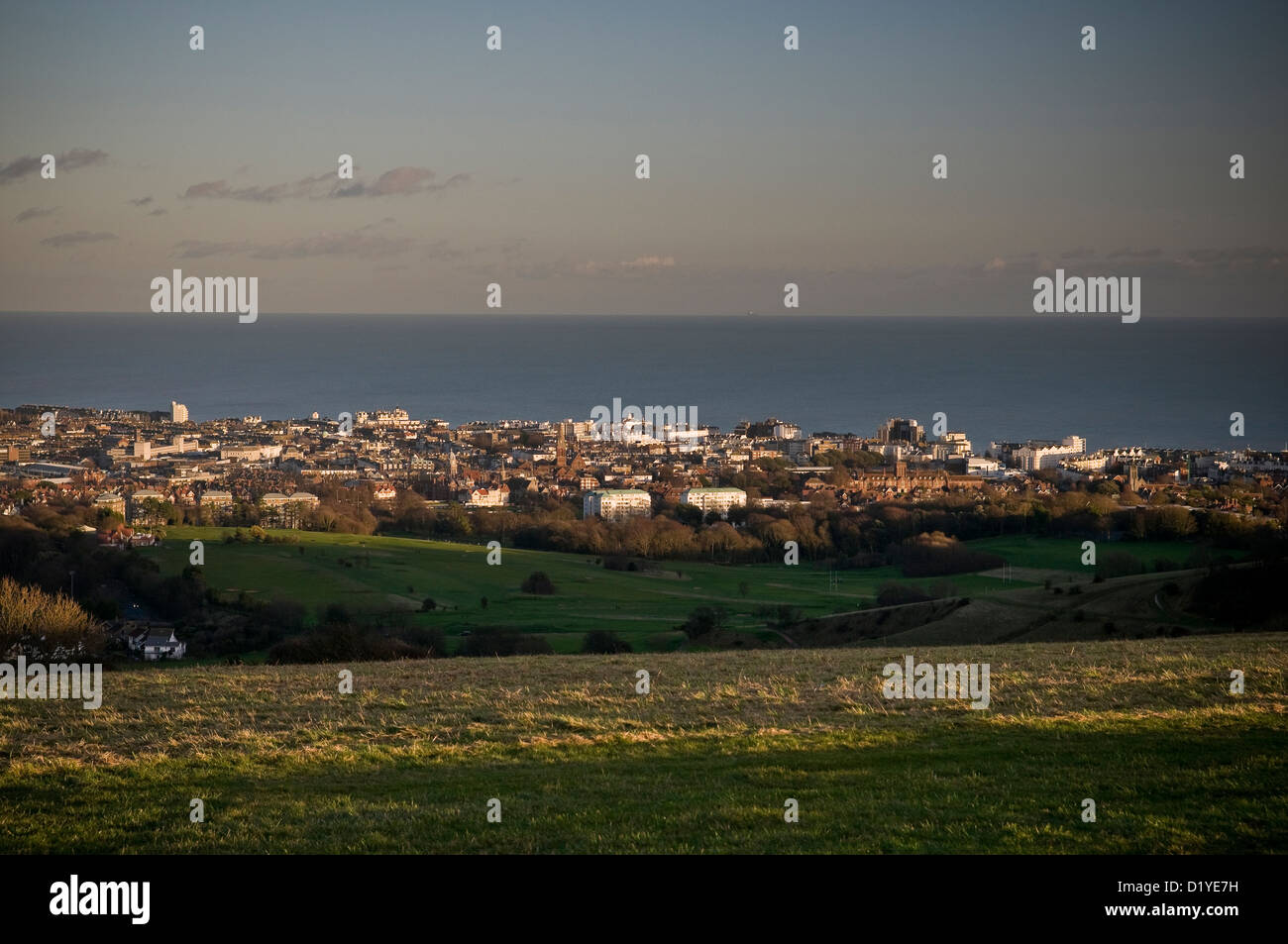 The South Downs Way overlooking the seaside resort of Eastbourne, East Sussex, UK - Stock Image