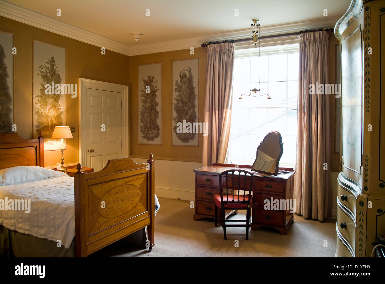Guests Bedroom With Original Decor And Fittings At West Dean College,  Chichester, West Sussex, UK