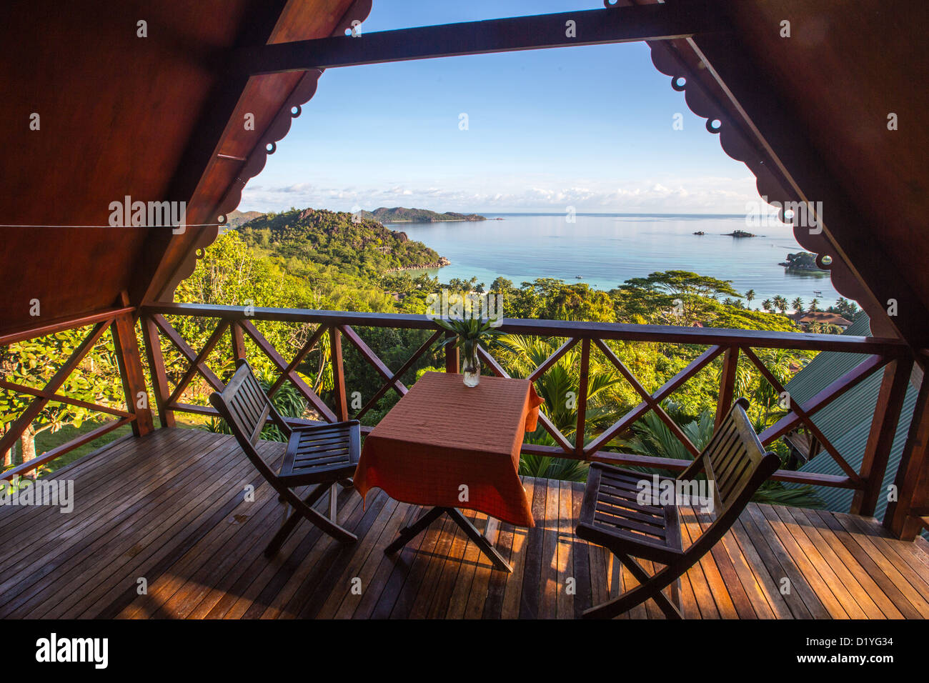 View from a cabin at Mango Lodge, Pralin Island, Seychelles - Stock Image