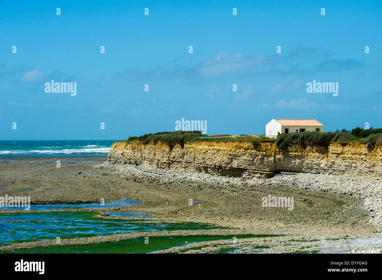 Rough sea and coast at the north cape island d'Oleron - Stock Image
