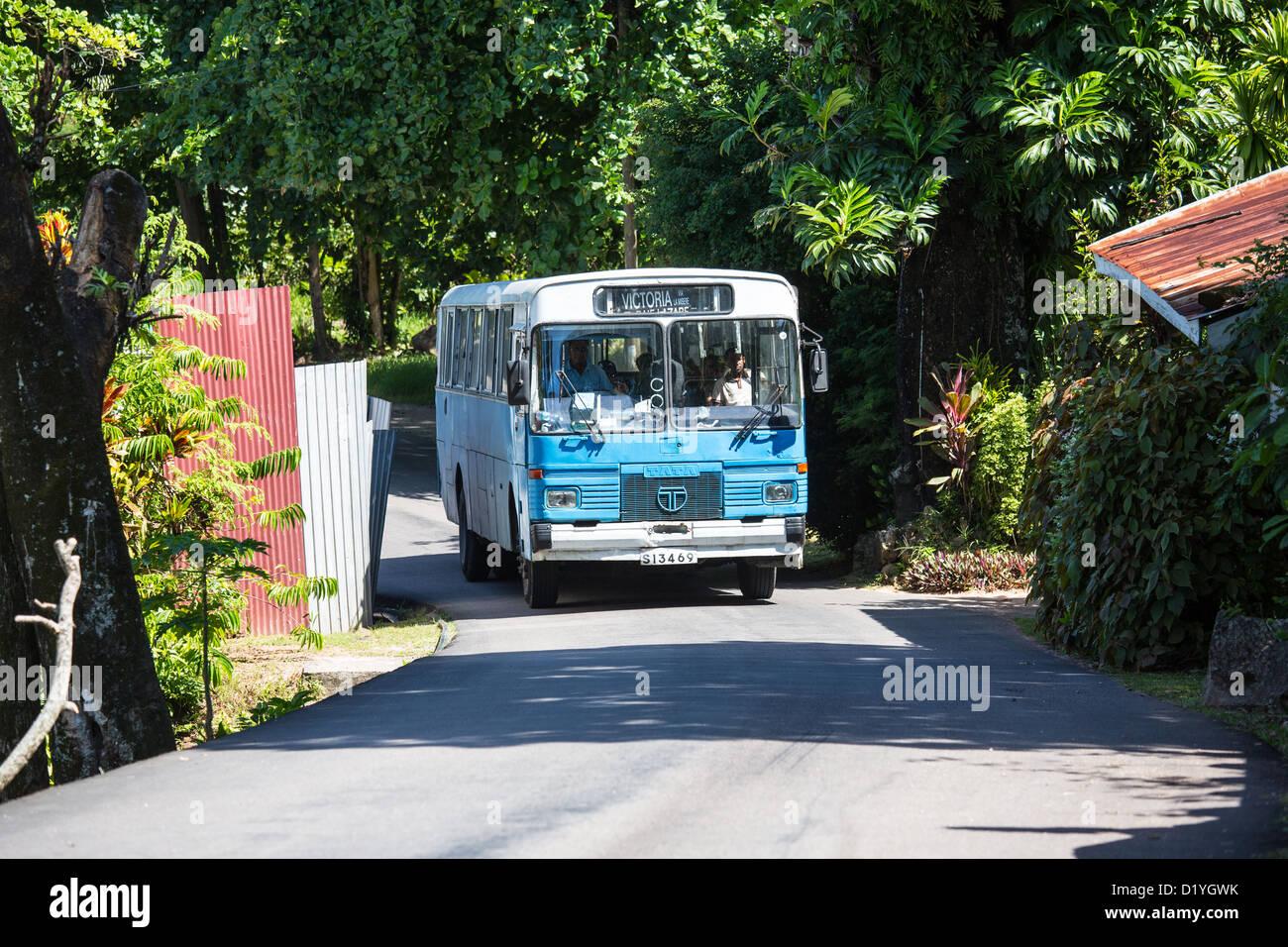 Public bus, Mahe Island, Seychelles - Stock Image