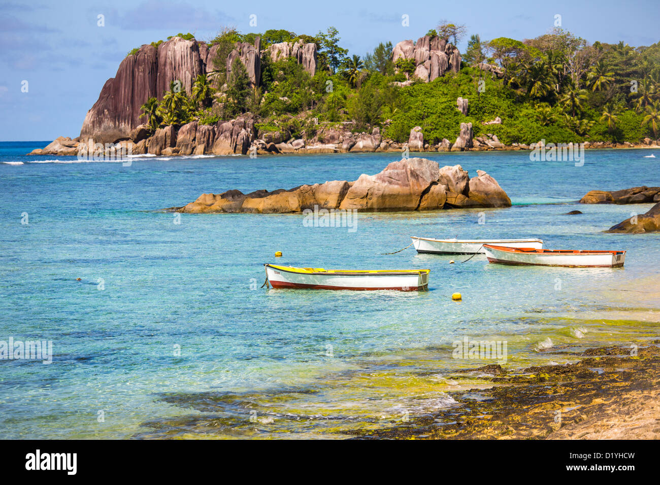 Beach on Mahe Island, Seychelles - Stock Image