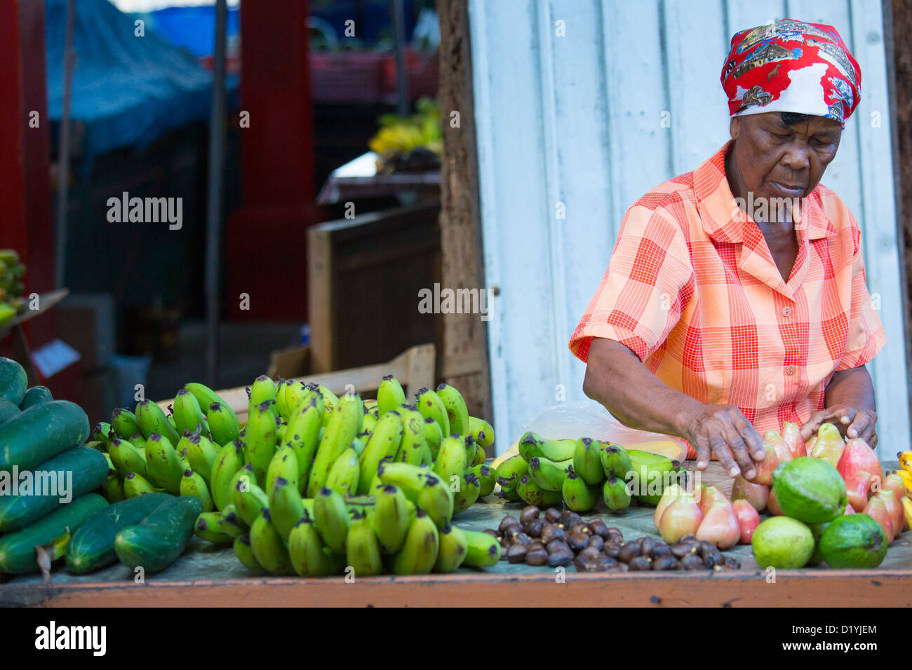 Tropical fruit at the market, Mahe Island, Seychelles - Stock Image