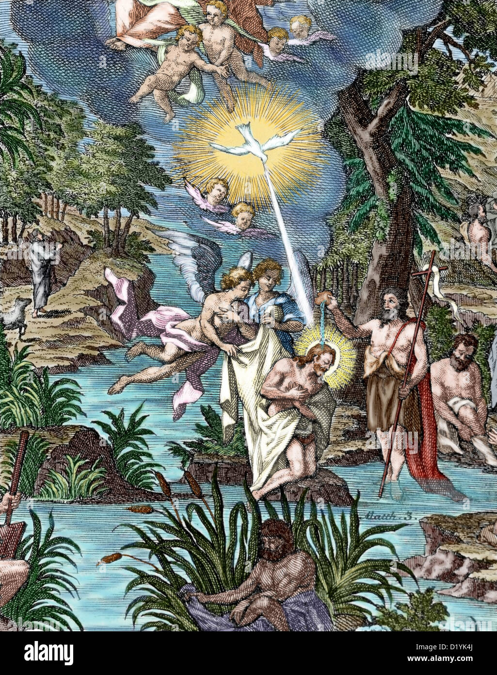 Matthew 3. John the Baptist baptizing Jesus. Colored engraving. - Stock Image