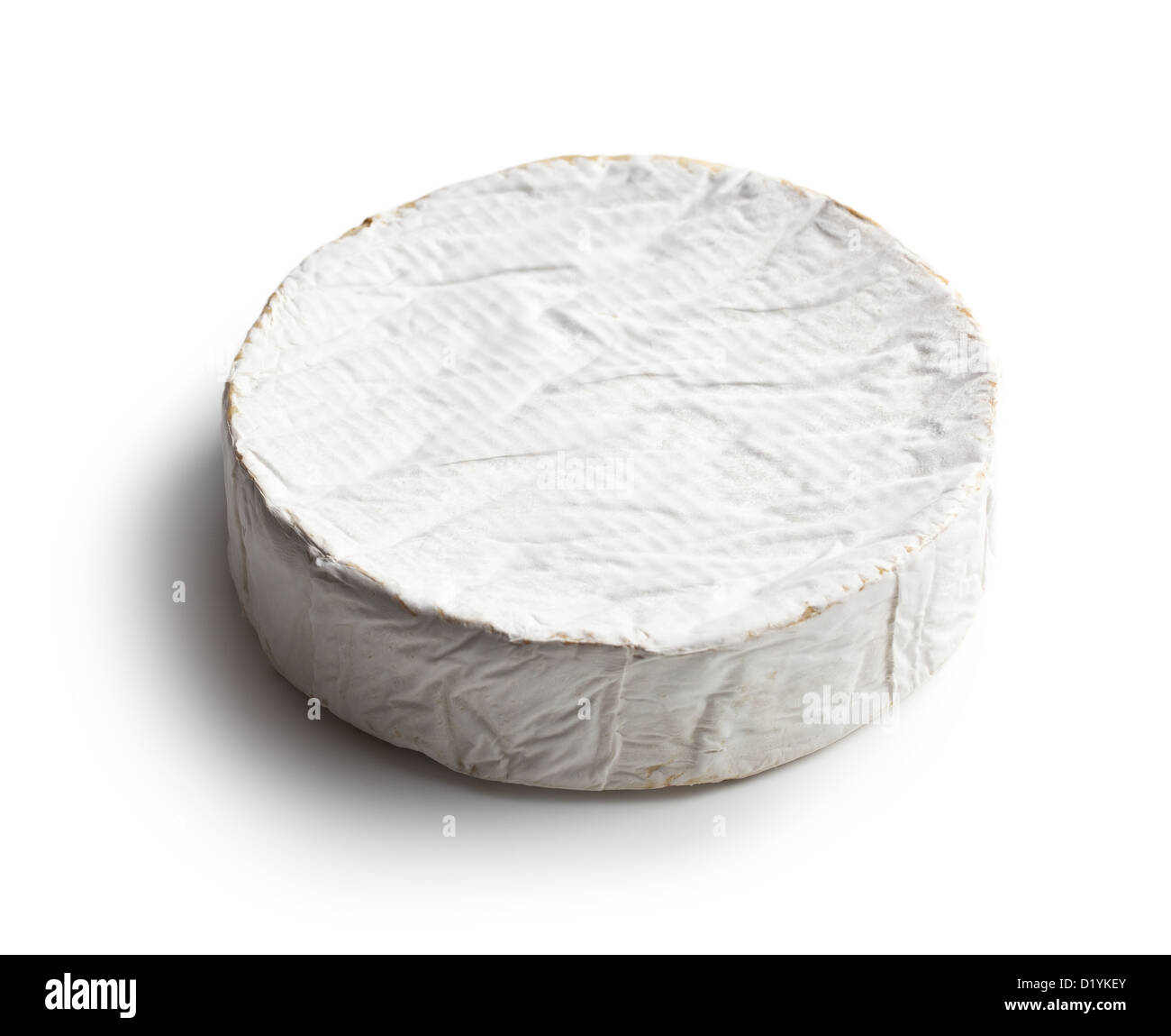 camembert cheese on white background - Stock Image