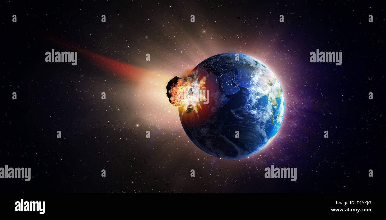 A very large asteroid hitting Earth - Stock Image