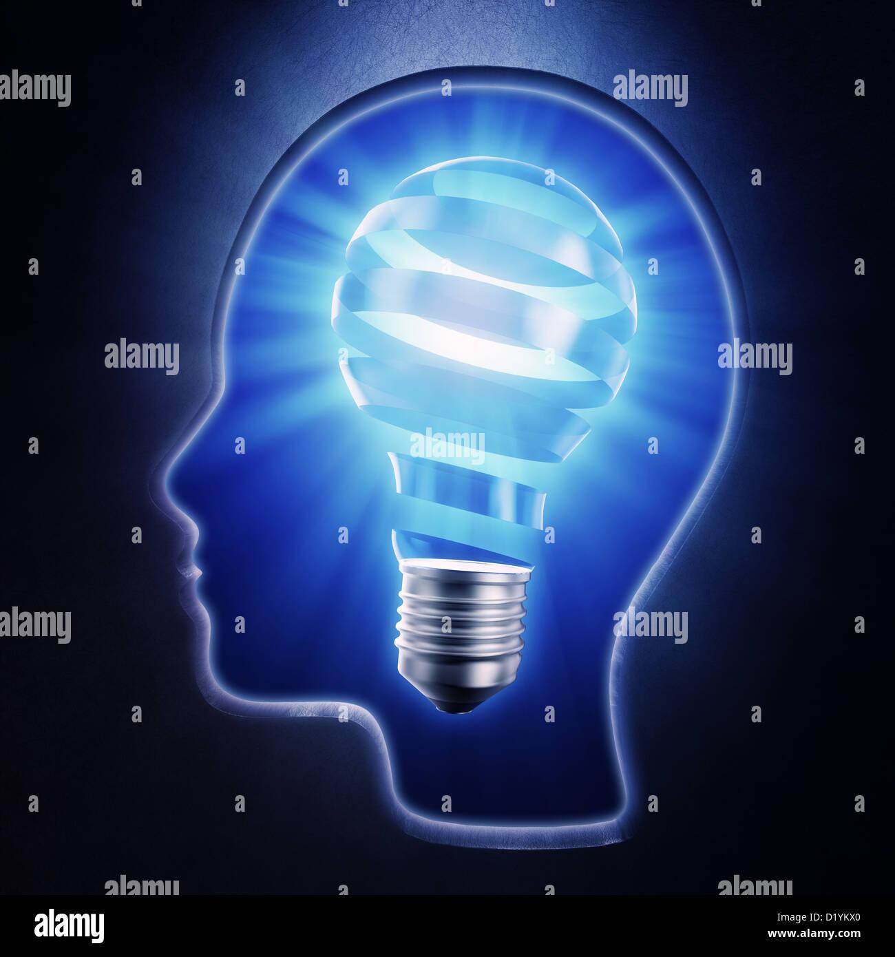 I bright bulb shape inside a head - creativity concept - Stock Image