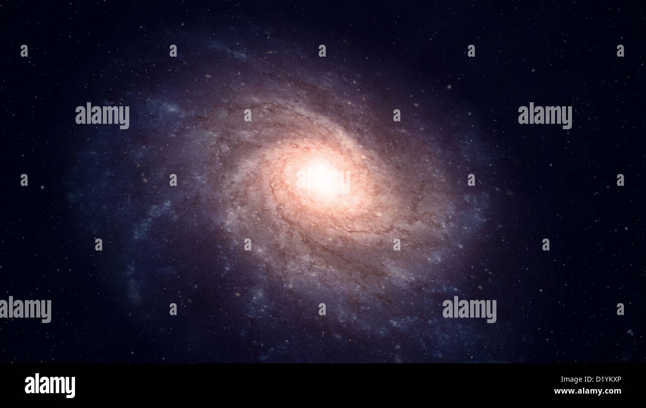 View of a large spiral galaxy - Stock Image