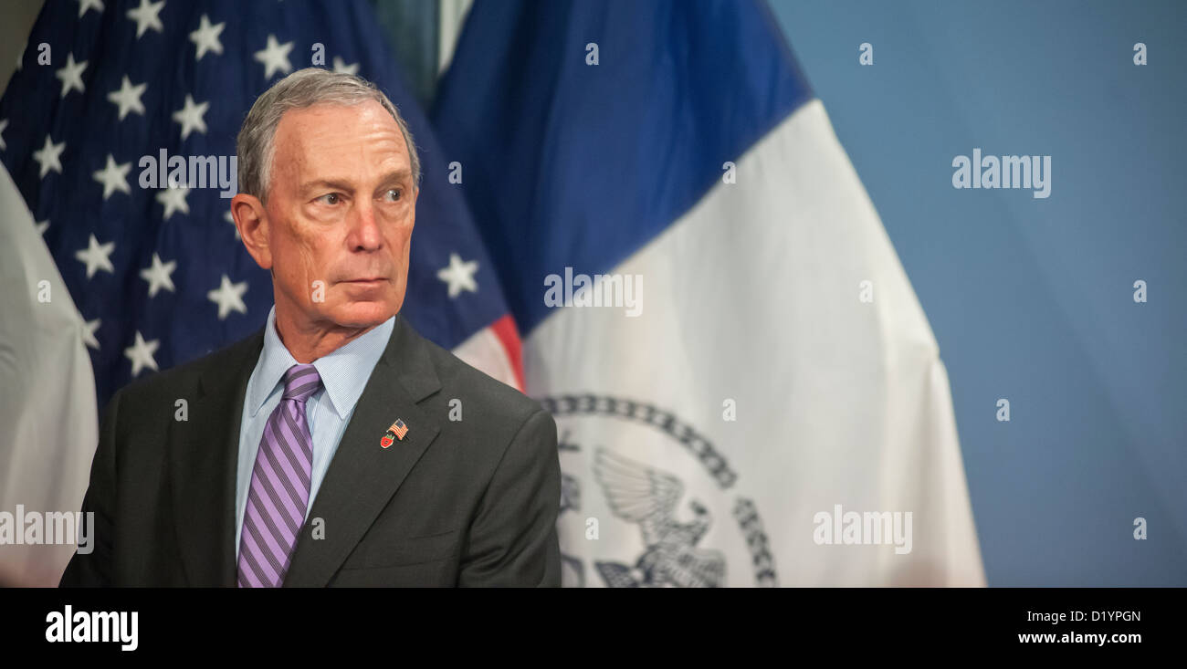 Mayor Mike Bloomberg prior to a bill signing ceremony in the Blue Room in City Hall in New York - Stock Image
