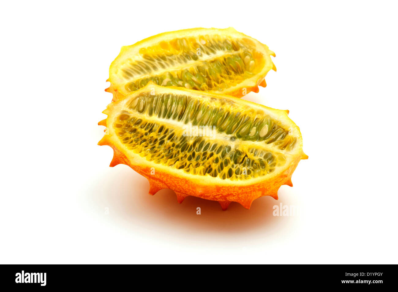 Horned melon on a white background - Stock Image