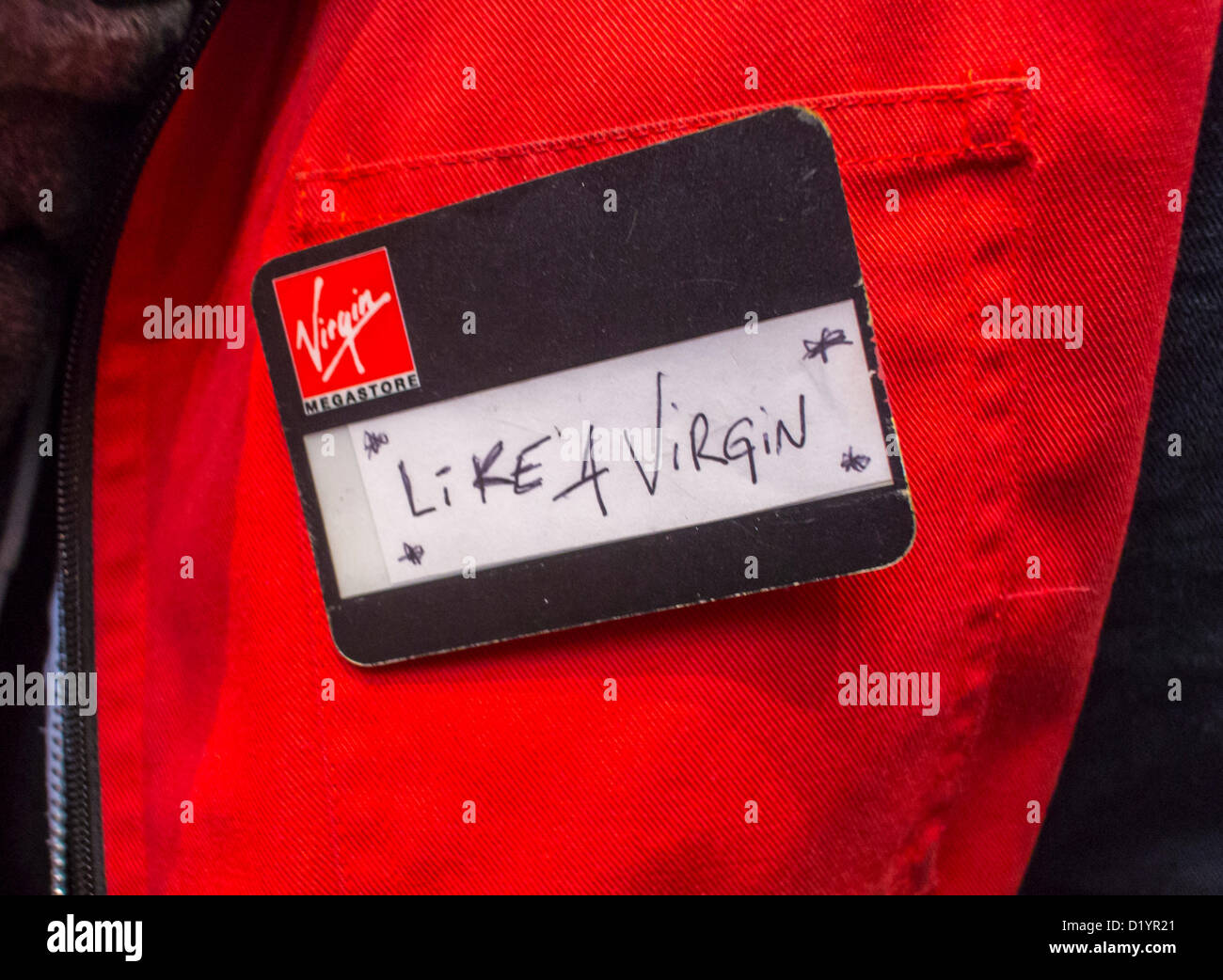 Paris, France, French Employees of Virgin Stores Protest Against Store Closures, detail badge 'Like a Virgin' - Stock Image