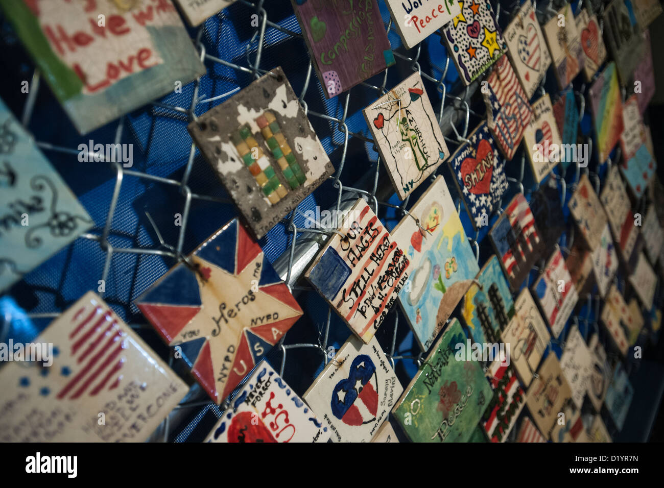 Exhibit of tiles memorializing the World Trade Center victims opens in the Jefferson Market Library in Greenwich - Stock Image