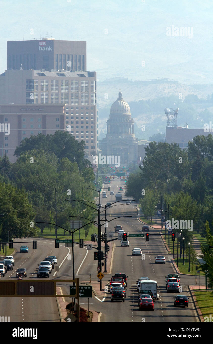 Air pollution from forest fires in Boise, Idaho, USA. - Stock Image