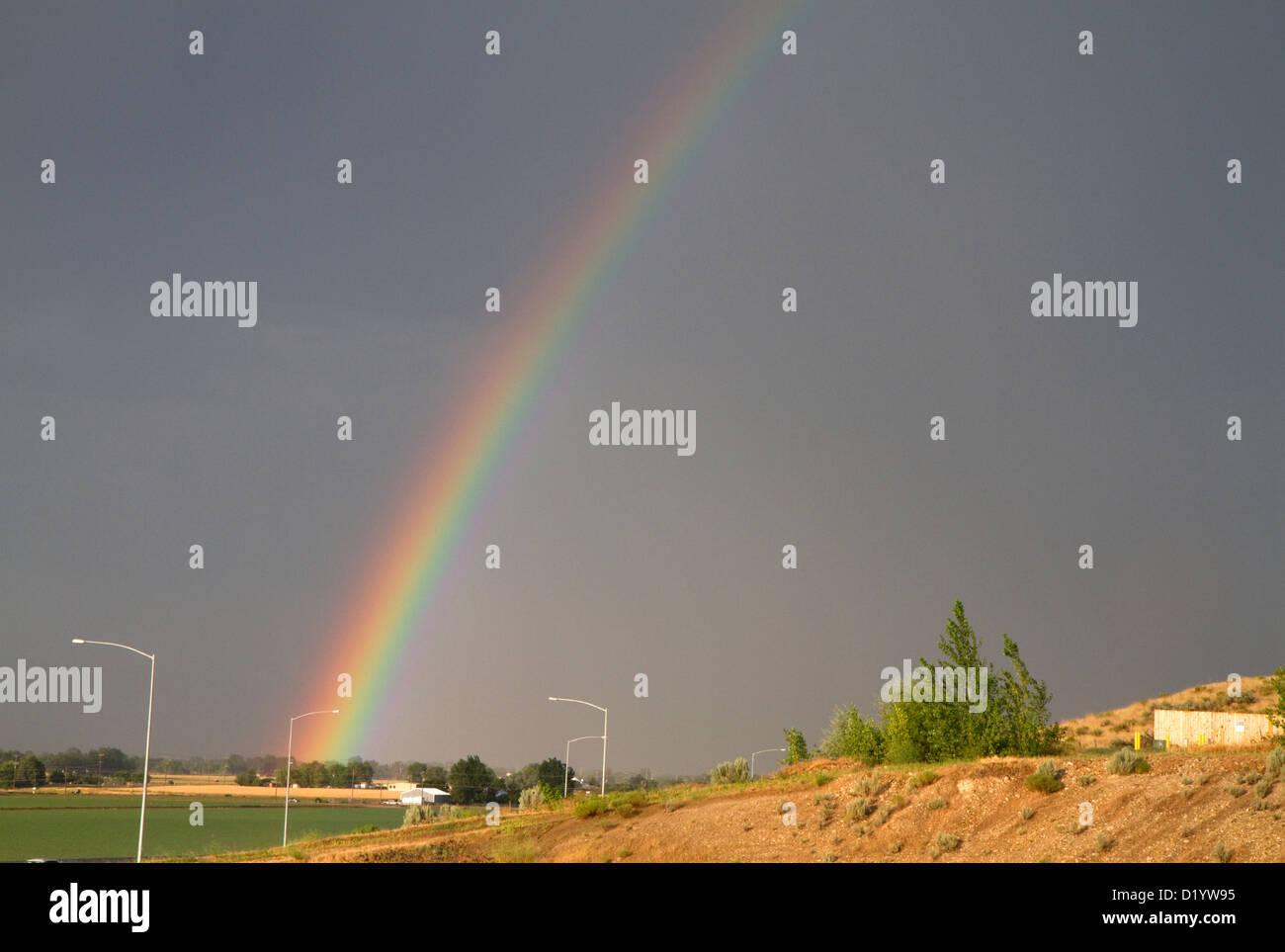Rainbow over Ada County, Idaho, USA. - Stock Image