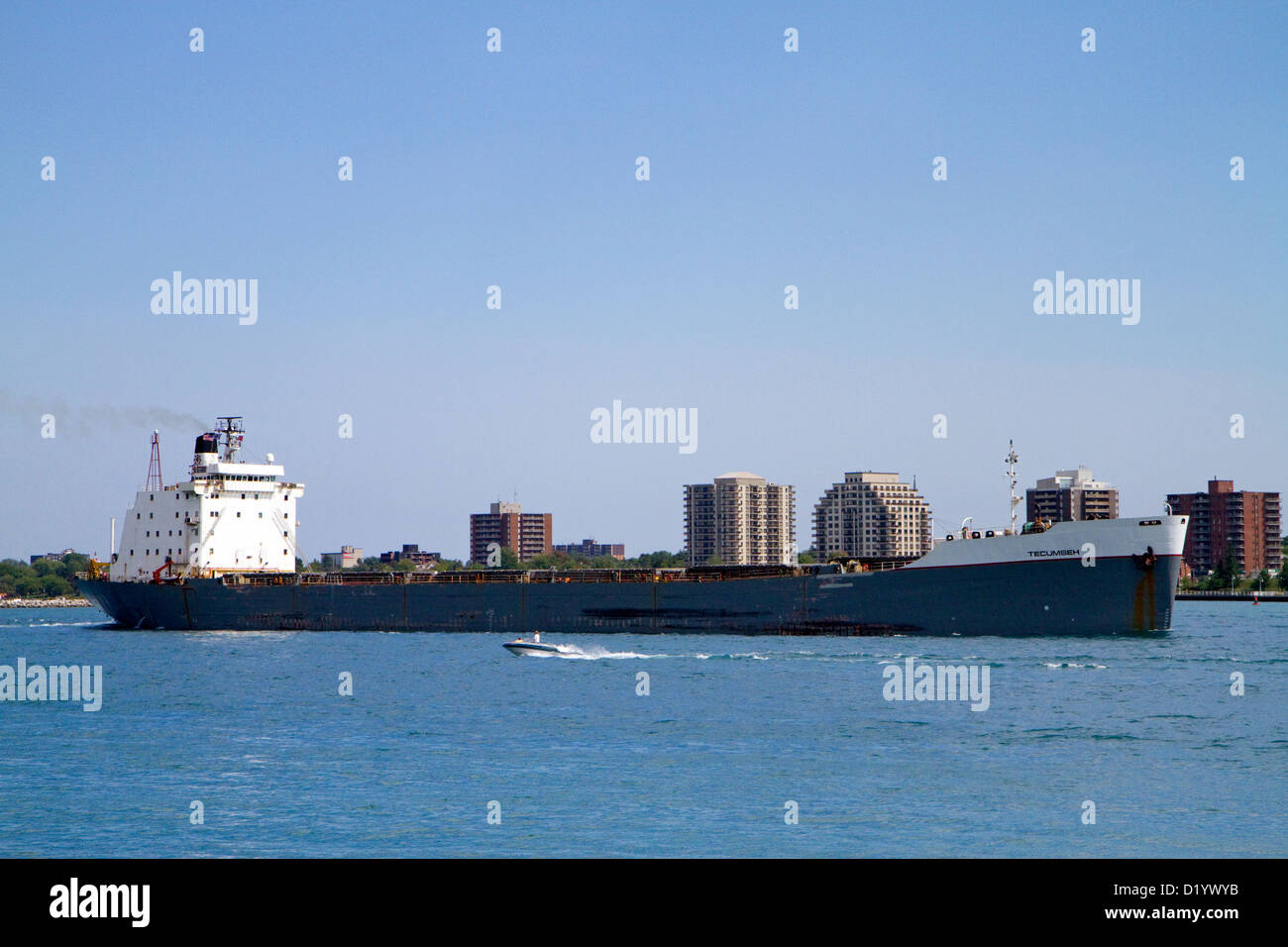 Tecumseh bulk carrier ship on the St. Clair River at Port Huron, Michigan, USA. - Stock Image