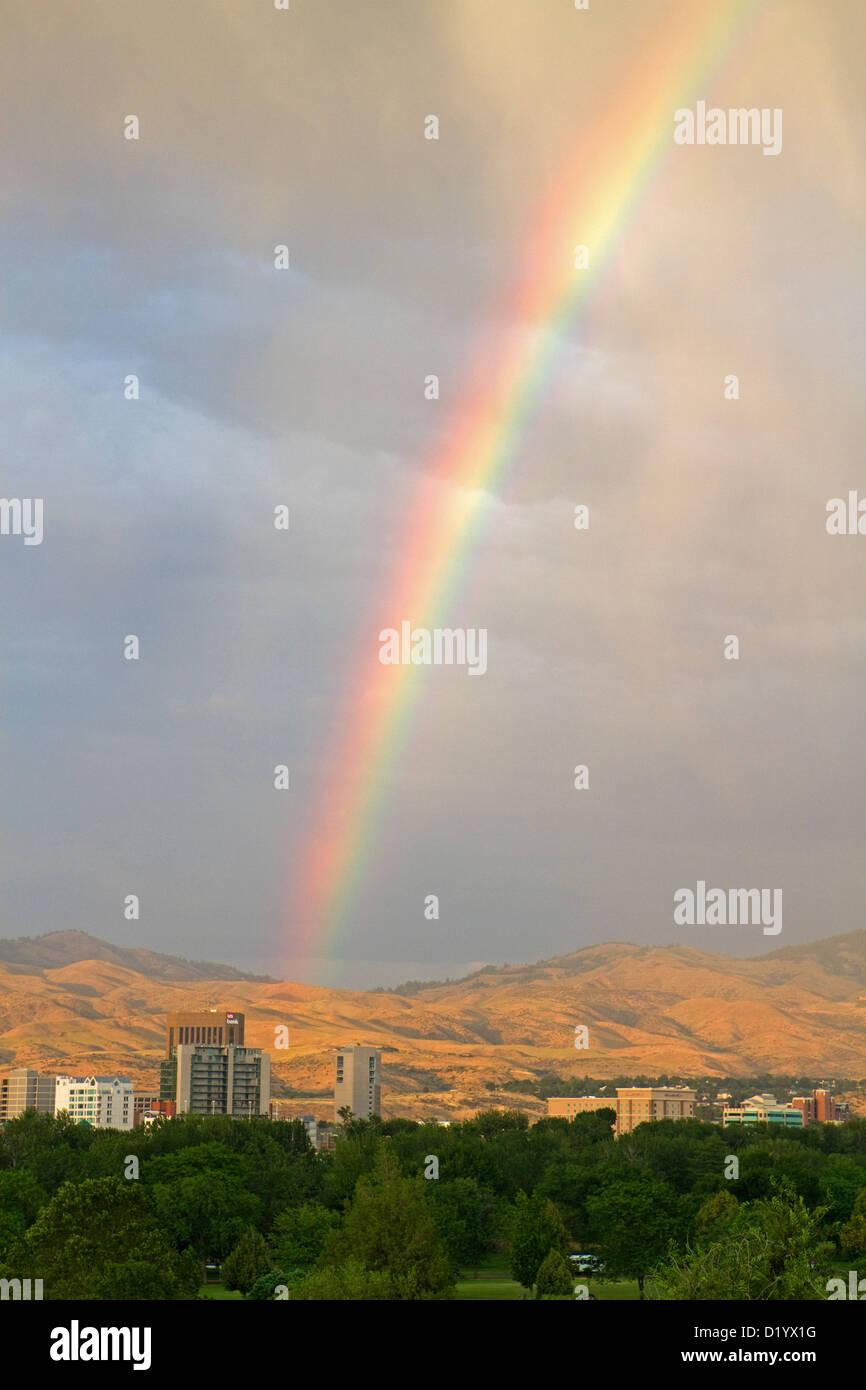 Rainbow over the city of Boise, Idaho, USA. - Stock Image