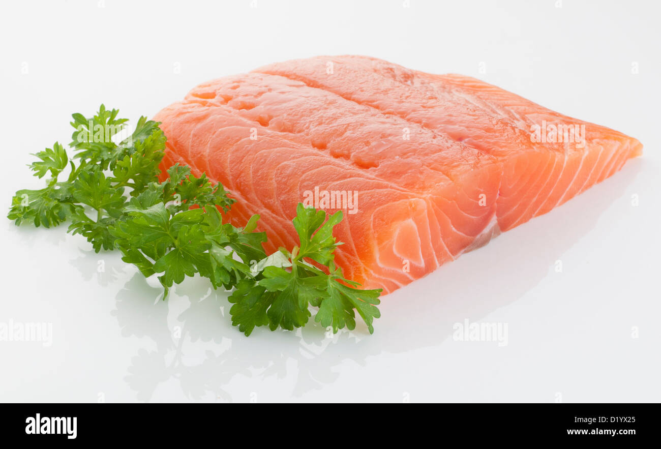 fresh and tasty piece of raw salmon - Stock Image