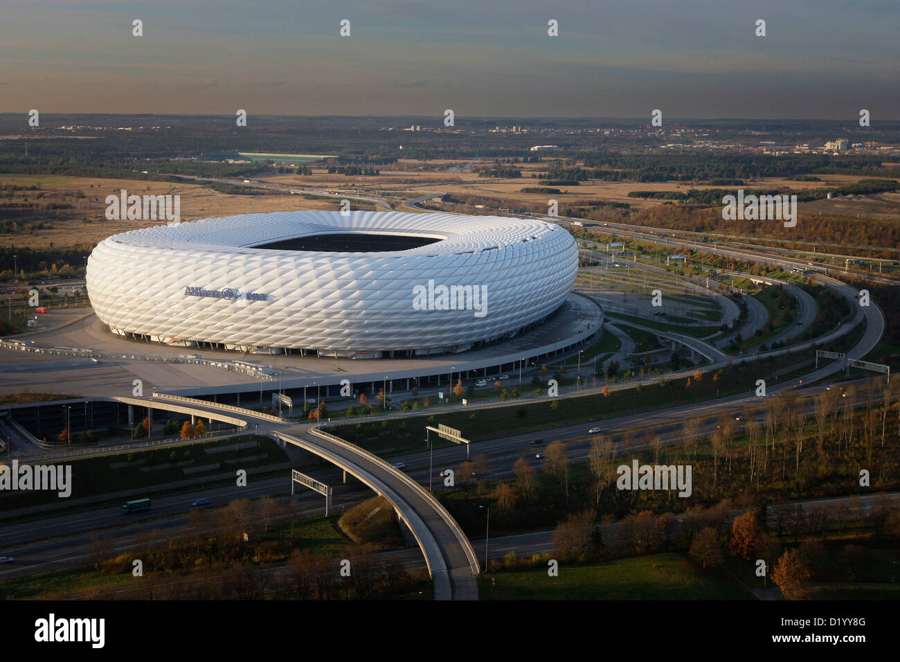 Allianz Arena soccer stadium seen from above, Munich, Bavaria, Germany - Stock Image