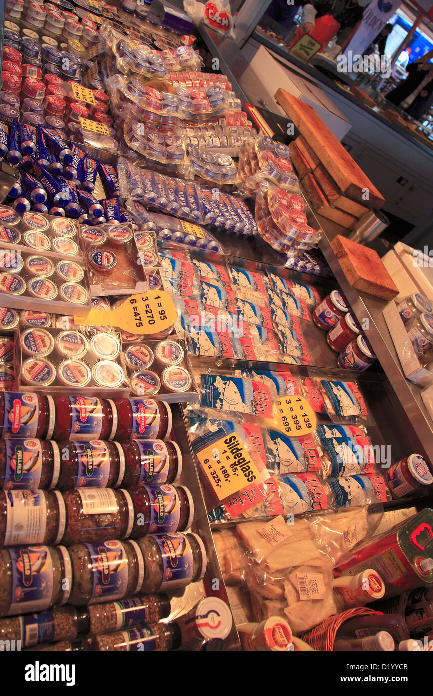 A selection of seafood for sale in the Fish Market by the Vagen, Bergen City, Hordaland, Norway, Scandinavia Europe, - Stock Image